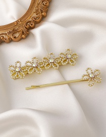 Fashion Gold Color Two-piece Pearl Flower Clip
