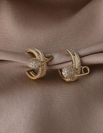 Fashion Gold Color Micro-inlaid Zircon Pin Earrings
