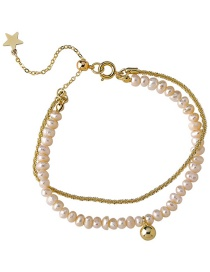 Fashion A Gold Color Double Layer Freshwater Pearl Bracelet