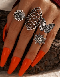 Fashion Ancient Silver Color Butterfly Flower Sun Ring Set