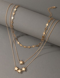 Fashion Gold Color Five-pointed Star Multi-layered Necklace