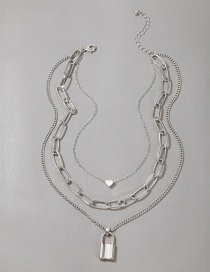 Fashion Silver Color Metal Heart-shaped Love Lock-shaped Necklace