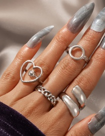 Fashion Silver Color Love Circle Open Ring Set