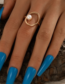 Fashion Gold Color Pearl Open Round Ring