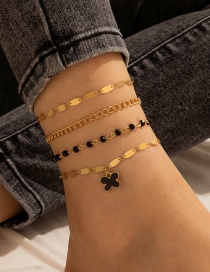 Fashion Black Butterfly Rice Bead Anklet Set