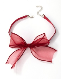 Fashion Red Bow Net Yarn Lace Necklace