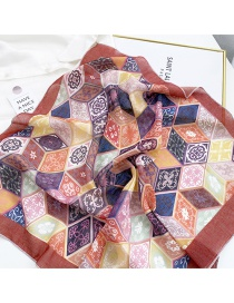 Fashion 26 Cotton Icon Cube Red Cotton And Linen Printed Silk Scarf