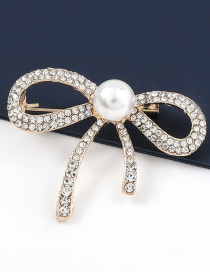 Fashion Bowknot Alloy Diamond And Pearl Bow Brooch