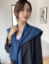 Fashion Haze Blue Solid Color Knotted Knitted Shawl