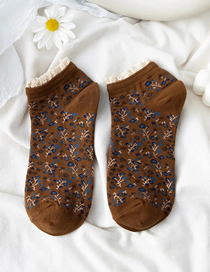 Fashion Light Brown Small Floral Lace Socks