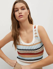 Fashion Color Colorblock Knitted Vest