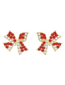 Fashion Red Butterfly Combined With Gold Rhinestone Stud Earrings