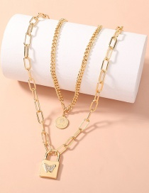 Fashion Gold Color Metal Thick Chain Butterfly Diamond Lock Double Necklace
