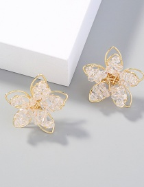 Fashion Transparent Flower Transparent Crystal Winding Earrings
