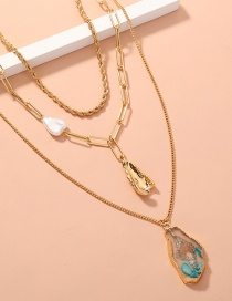 Fashion Gold Color Imitation Pearl Resin Lattice Necklace