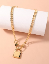 Fashion Gold Color Thick Chain Lock Metal Necklace