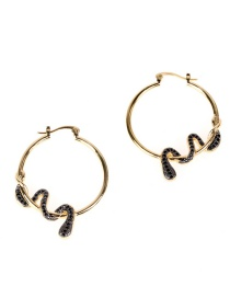 Fashion Black Two-tone Electroplated Serpentine Surround Zircon Earrings