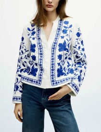 Fashion Blue Blue And White Porcelain Embroidered Jacket