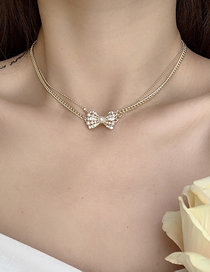 Fashion Silver Color Bow Double Necklace