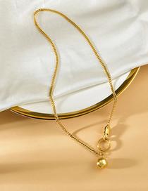 Fashion Gold Color Titanium Steel Double Round Necklace