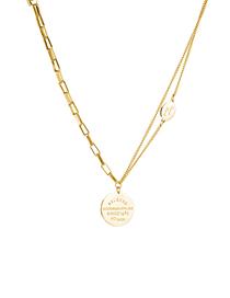 Fashion Gold Color Round Letter Titanium Steel Necklace