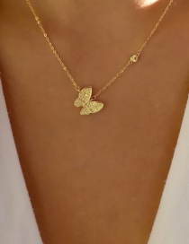 Fashion Gold Color Butterfly Micro Inlay Single Layer Necklace
