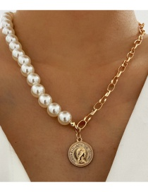 Fashion Gold Color Pearl Coin Head Necklace