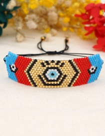 Fashion Color Color Matching Rice Beads Woven Demon Eye Bracelet
