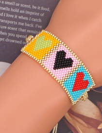 Fashion Color Peach Heart Color Matching Woven Beaded Love Bracelet