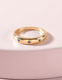 Fashion Gold Color Gold-plated Blue Rhinestone Ring