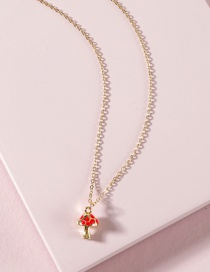 Fashion Red Dripping Oil Colored Mushroom Necklace