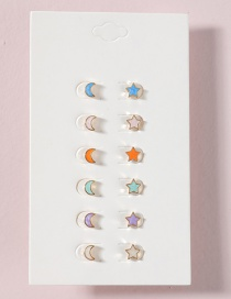 Fashion Suit Star And Moon Dripping Earrings Set