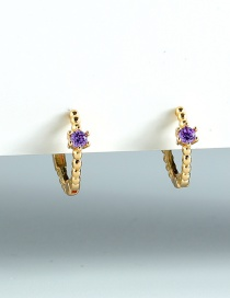 Fashion Purple Gold-plated Copper Inlaid Zircon Earrings