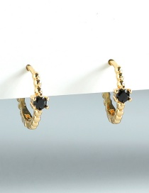 Fashion Black Gold-plated Copper Inlaid Zircon Earrings