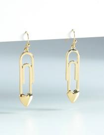 Fashion Gold Color Peach Heart Pin Earrings