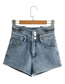 Fashion Blue High-waisted Stretch-covered Denim Shorts
