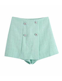 Fashion Green Textured Double-breasted Straight-leg Shorts