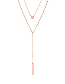 Fashion Rose Gold Stainless Steel Geometric Double Necklace
