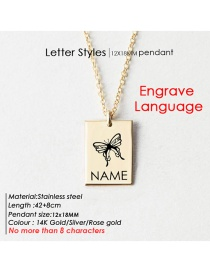Fashion Rose Gold 12# Lettering Butterfly Letter Square Glossy Titanium Steel Necklace