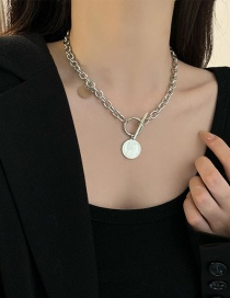 Fashion Silver Color Coin Pendant Necklace
