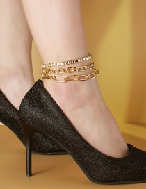 Fashion Gold Color Box Chain Multi-layer Anklet