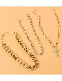 Fashion Gold Alloy Diamond Cross Anklet