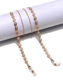 Fashion Gold Color Peach Heart Pearl Gold Glasses Chain