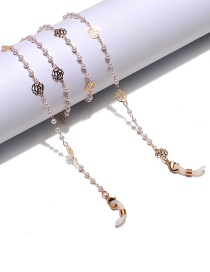 Fashion Color Mixing Chain Pearl Hollow Rose Flower Glasses Chain