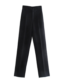 Fashion Black Solid Color Straight High Waist Trousers