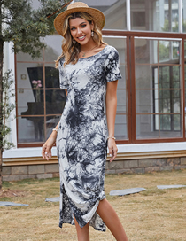 Fashion Black And White Off-the-shoulder Ink Print Dress
