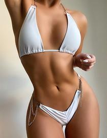Fashion White Chain Split Swimsuit