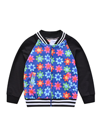 Fashion 9 Colored Flowers Printed Contrast Color Children's Jacket