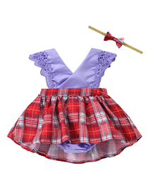 Fashion 12 Purple Bottom Red Grid Children's Lace Floral Plaid Bag Fart Dress With Hair Band