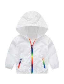 Fashion White Rainbow Hooded Children's Sun Protection Clothing